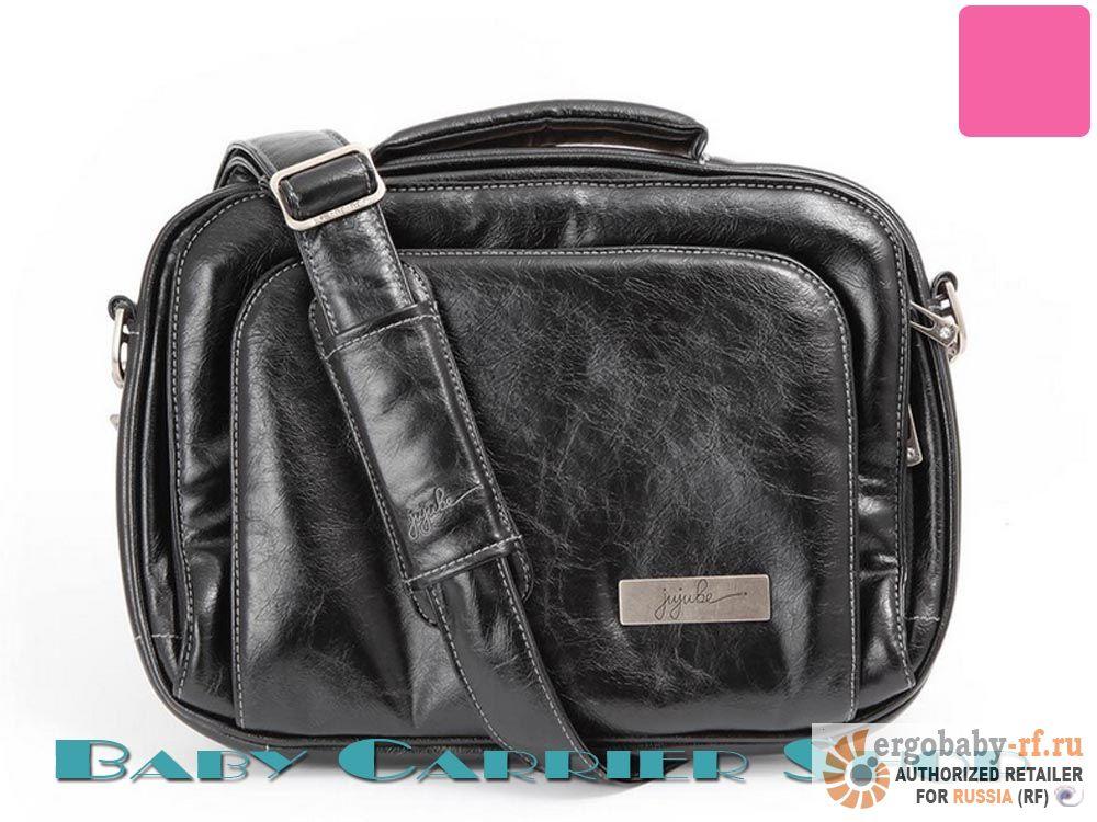 Женская сумка для ноутбука 13 дюймов JU-JU-BE Earth Leather «Micra Be Laptop Small Black Pink» Legacy Collection JuJuBe [ЖуЖуБи Микра Би Земная кожа]