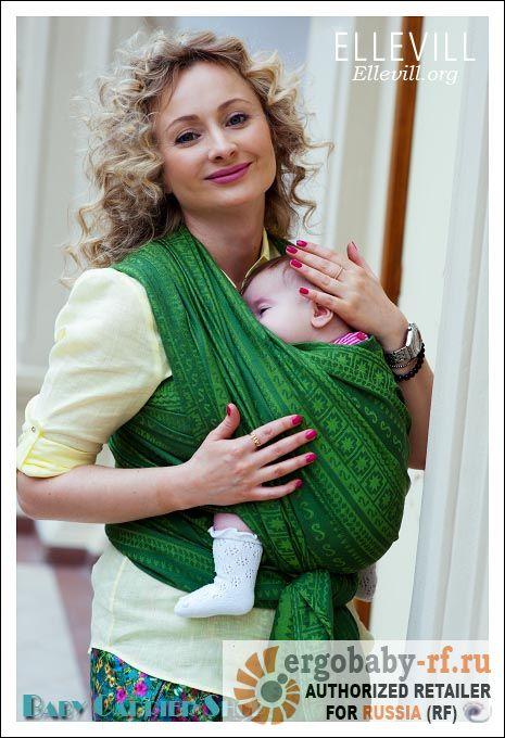 Размер: 5.2м (7/L). Слинг-шарф для новорожденного ELLEVILL Caelum Green [Эллевиль, шелк и хлопок]