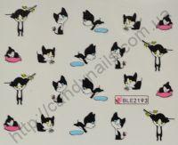 """Водная наклейка для дизайна ногтей """"Кошки"""" BLE-2193"""