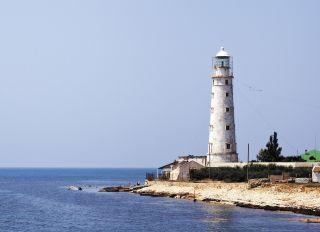 Postcard Tarkhankut lighthouse. Crimea