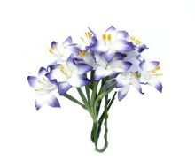 лилии на стебле БЕЛО-СИНИЕ  материал бумага цена за 5 шт