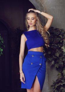 Синя пола от джинс с копчета