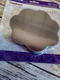 заготовка альбома-жестяная коробочка ЦВЕТОК  с лепорелло (альбомом из 5 страниц) цвет серебро диаметр 13  см плотность листов 250